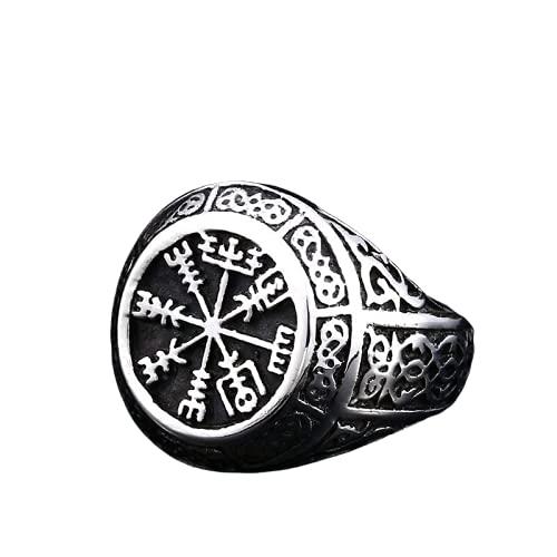VKING Store - Punk Titanium Steel Ring for Men Jewelry Flat Black Stone Valknut Signet Ring Odin Symbol Norse Viking Biker Ring (8)