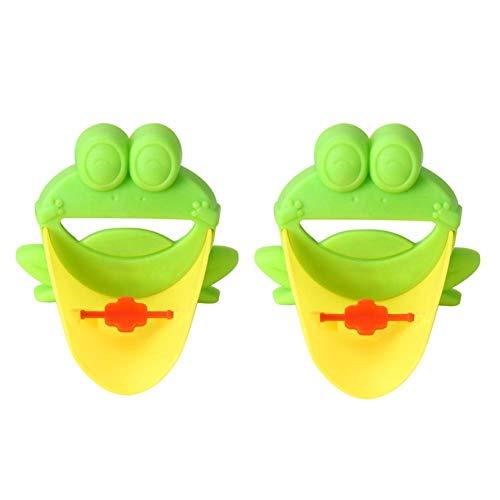 2pcs Robinet Enfants Extension de Robinet La Cabina Demiawkaing Rallonges de Robinet Kit de Salle de Bains de Forme de Grenouille pour se Laver les mains, Extendeur de Robinet