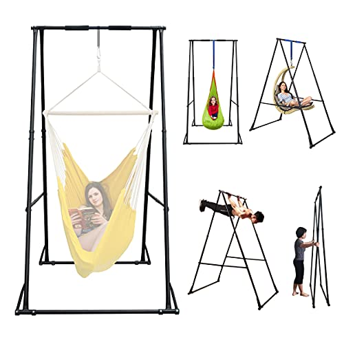 KT Indoor Outdoor Versatile Hammock Chair Stand. Foldable, Portable, Height Adjustable, Stable and...