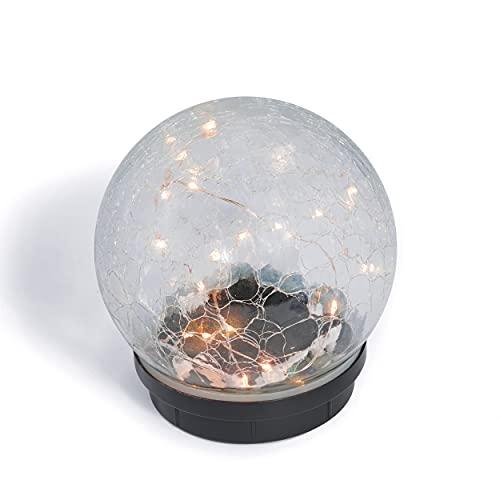 Glas-Solarkugel Lichterzauber 15 cm - Leuchtdraht mit 24 LEDs - angenehm warmweißes Licht - traumhafte Lichteffekte dank Bruchglasoptik - Solarlampe Garten Solarleuchte, esotec 102435