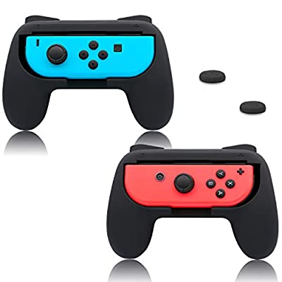 FastSnail Grips for Nintendo Switch Joy-Con, Wear-resistant Handle Kit for Nintendo Switch Joy Cons Controller with 6 Thumb Grips (Black)