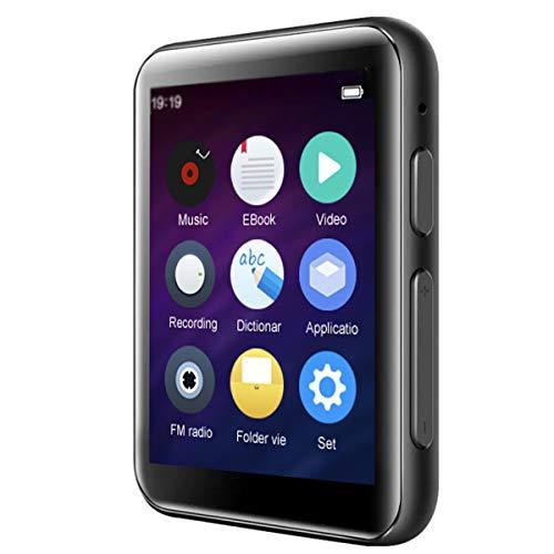 CCHKFEI Lettore MP3 Bluetooth da 16GB con schermo touch da 2,4 pollici, HiFi, in metallo, senza perdite, altoparlante integrato, supporto radio FM/registratore vocale