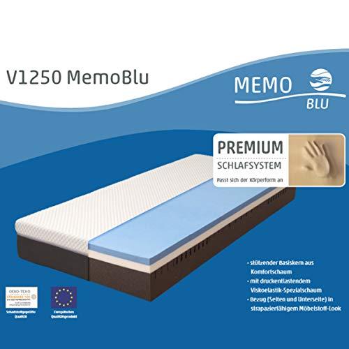 Möbel Akut Matratze One-Fits-All MemoBlu V1250 weiß Viskoelastik 7 Zonen wendbar 140x200
