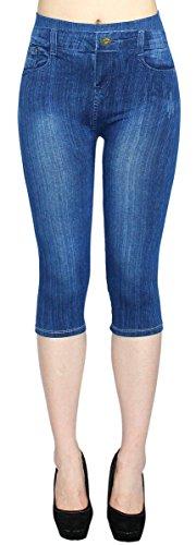 dy_mode Capri Leggings Damen Jeggings 3/4 Leggings in Jeans Optik - CLG062-064 (CLG064-OneSize Gr.36-40)
