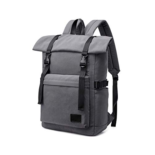 Travel Laptop Backpack, LOSMILE Casual Roll Top Backpack Rucksack 15.6 Inch Anti-Theft Laptop Bag School Bag Water Resistant Lightweight Daypack for Men Women, 25L-33L. (Gray)