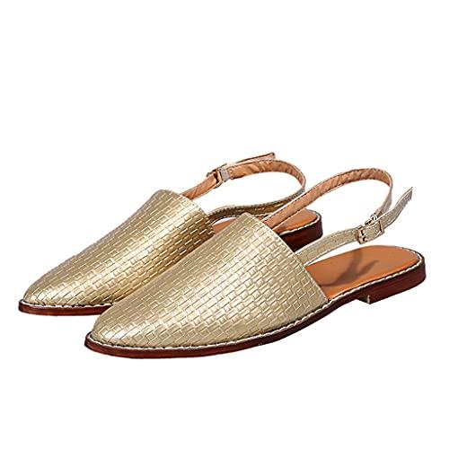 Zapatos de Tacón Clásicos Espigones con Hebillas y Tiras en la Parte Trasera para Mujer Zapato Destalonado Plano de Cuero Artificial Confort