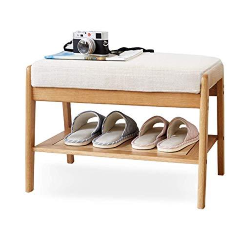 DXMRWJ Zapatero Compacto Antideslizante con Asiento de Esponja Banco de Zapatos de Madera de Roble 100% Estante Moderno para Pasillo, Entrada, Sala de Estar, Color Natural