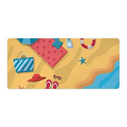 Sonnenschirm Bikini Sandalen Hut Tasche HandtuchProfessional Large Gaming Mouse Pad, genähte Kanten wasserdichte rutschfeste Gummibasis Schreibtischmatte PAD-772