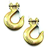 (Pack of 2) 3/8 Inch Safety Hook with Latch Forged G70 18,000 Lb Capacity