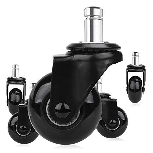 Ruedas 5 PCS Silla de reemplazo Ruedas de ruedas de 2 pulgadas, ruedas de servicio pesado con vástago de enchufe 7/16 x 7/8 pulgadas, rodamiento silencioso liso (Color : Black)
