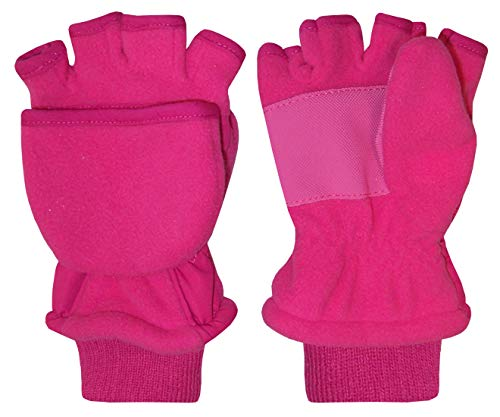 N'Ice Caps Big and Little Kids Thinsulate Lined Converter Fingerless Glove To Mitten (8-10 Years, fuchsia)