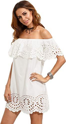Floerns Women's Off Shoulder Ruffle Loose Tunic Shift Dress White M