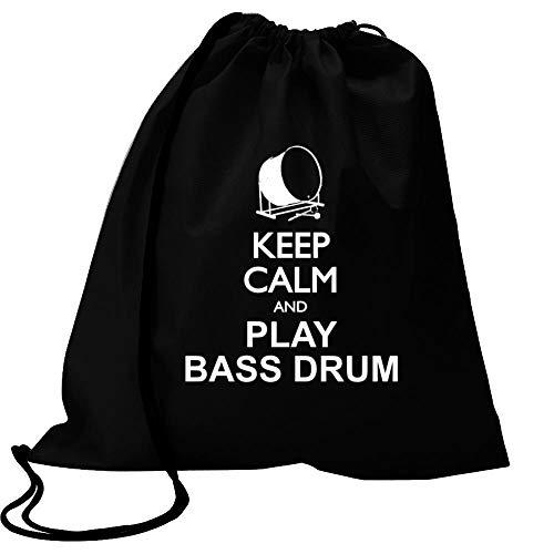 "Idakoos Keep Calm and Play Bass Drum Silhouette Turnbeutel 18\"" x 13\"""
