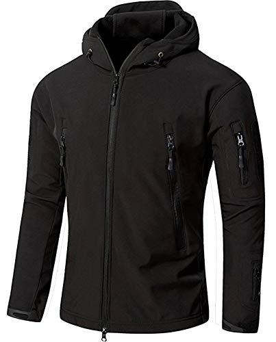 TACVASEN アウトドア タクティカル ソフト シェル ジャケット 保温や防水や防風など多機能のアノラック スキーと山登りの迷彩服 ブラック L