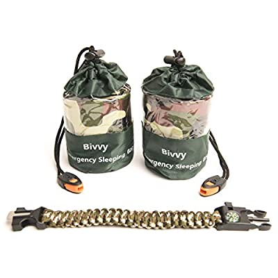 2 Bivy Sack Emergency Sleeping Bags Compact and Lightweight.Use as Survival Sleeping Bag Mylar Survival Blanket. Water and Wind Proof Includes Whistle, Paracord Bracelet with Compass and Fire Starter.