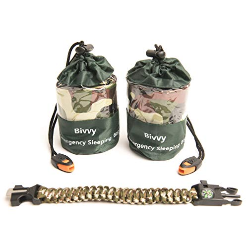 Bivy Sack Emergency Sleeping Bags Compact and Lightweight.Use as Survival Sleeping Bag Mylar Survival Blanket. Water and Wind Proof Includes Whistle, Paracord Bracelet with Compass and Fire Starter.
