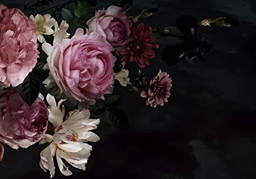 wandmotiv24 Fototapete Blumen Blüten Rosa, XXL 400 x 280 cm - 8 Teile, Fototapeten, Wandbild, Motivtapeten, Vlies-Tapeten, Pflanzen Schwarz M5867