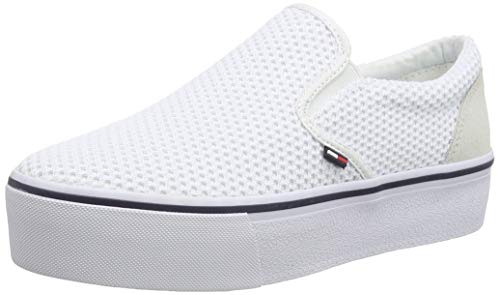 Hilfiger Denim Damen WMN Slipon Textile City Sneaker, Weiß (White/Ice 100), 40 EU