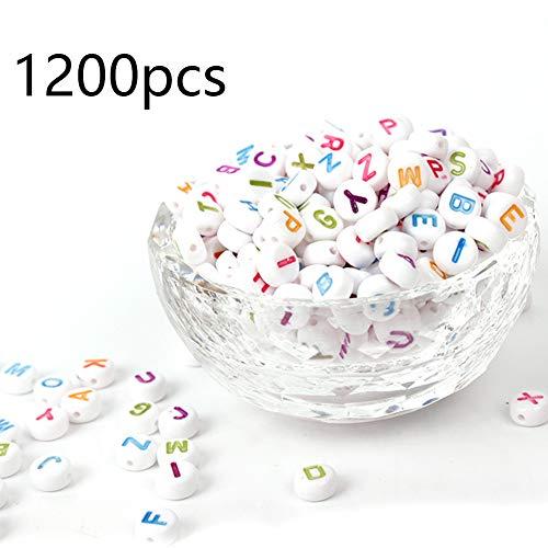 DAHI Buchstaben perlen ca.1200 Stück acryl runde perlen gemischte weiß perlen mit bunt Buchstaben A-Z rund perlen für Armband, Choker, Schmuck oder andere Handwerk (rund bunt buchstaben/4x7mm)