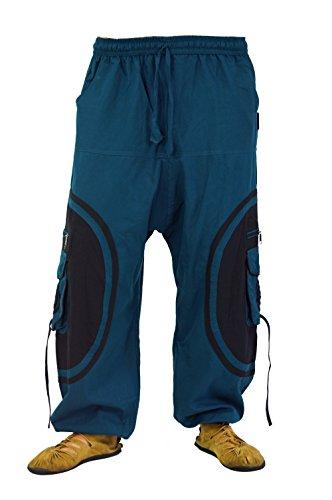Guru-Shop Goahose, Herren Afghani, Petrol/schwarz, Baumwolle, Size:L/XL (54), Hosen Alternative Bekleidung