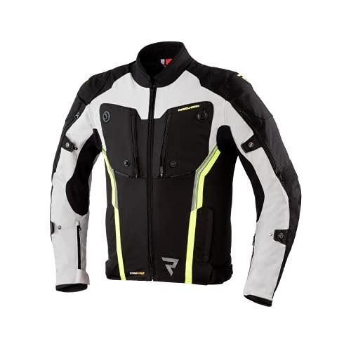 REBELHORN RH-TJ-BORG_27_L Borg - Giacca da Motociclismo per Uomo, Multicolore (Black/Grey/Flo Yellow), L