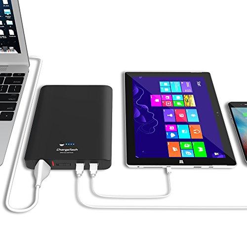 ChargeTech Portable Battery Pack w/AC Outlet & USB Ports - Universele Power Bank voor MacBooks, Laptops, iPhone, iPad, Samsung Galaxy, Note Tab, Nexus, HTC, Motorola, GoPro, Camping, 27,000mAh, Zwart