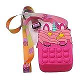 VCBMRT Unicorn Pop It Bag - Bolso Bandolera de Moda para niñas, Bolso Bandolera para Mujeres y niñas, Bolso pequeño Bandolera, Juguetes sensoriales para el hogar de la Escuela (Rose Red)