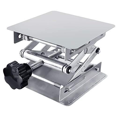 Hubtisch Labor Hebebühne Edelstahl Labor Hebeplattform Ständer Rack Scissor Laborscherenwagenheber manuelle Steuerung (100x100mm)