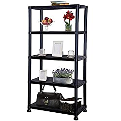 4 or 5 Tier Black Plastic Shelving Storage Unit 4 Tier Size and Load Capacity, Measures: 133 x 30 x 60cm, Load Capacity: 25kg per Layer, total 100 kg 5 Tier Size and Load Capacity, Measures: 173.5 x 30 x 60cm, Load Capacity: 25kg per Layer, total 125...