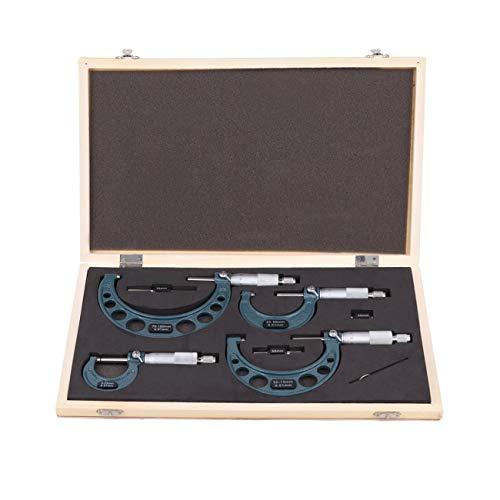 Ridgeyard esterno micrometro set 0-100mm utensile in carburo di precisione con 4 pezzi in astuccio di legno