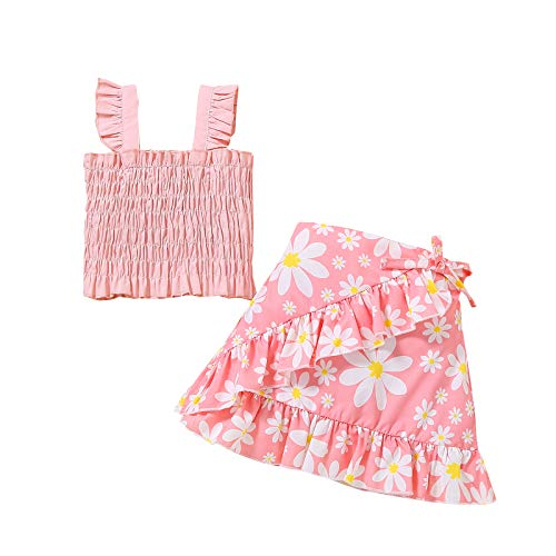 Toddler Baby Girls Clothes Outfits Skirt Set Ruffle Strap Top+Floral Skirt Little Girl Summer Skirt Set 2pc 3-4 T