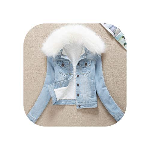 Sweetie L Winterjacke für Damen, Denim-Jacke, Pelzkragen, dicke Jeans, Jacke, Warm, Parkas, Lammwolle Gr. XL, Hellblau / Weiß