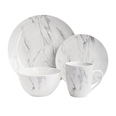 American Atelier 7020-16-RB Marble Dinnerware Set, 10.5 x 10.5, White/Gray