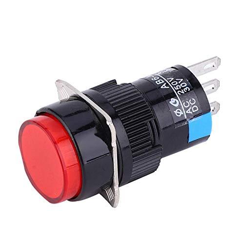 Interruptor de botón pulsador LA16-11 / AB6-M interruptor momentáneo 5 uds interruptor de botón redondo para electrodomésticos componentes electrónicos(red)