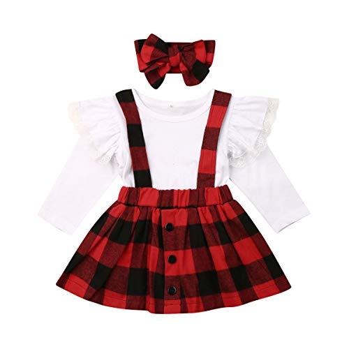 Conjuntos Superiores de Falda de bebé recién Nacido Mameluco de Manga Larga Floral Tops Suspender Vestido General Diadema Ropa Trajes (Red Plaid, 4-5 años)