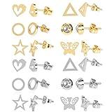 yasu7 Juego de 12 pares de pendientes de mariposa de acero inoxidable con forma de corazón, estrella y luna, día de la madre, día de los niños, regalo para el día de Acción de Gracias