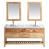 LUCA Kitchen & Bath LC72BOW Valencia 72' Double Vanity Set in Honey Oak with Carrara Marble Top, Sink, and Mirror