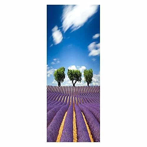 tzxdbh vinilo suelo cocina Lavanda púrpura cielo azul árbol grande 100CMx18CMx6pieces(39.3'w x 7'h x 6pieces) Pegatinas de Pared, Vinilo Stickers Adhesivos Escalera pegatinas para escalones