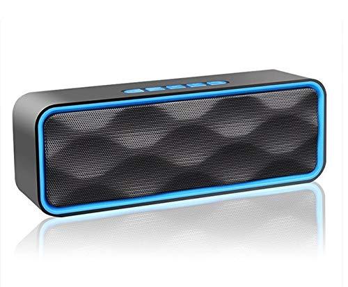 Langguth - Altavoz Bluetooth inalámbrico V5.0 con doble controlador de graves y radio FM, 6 horas de reproducción, función manos libres, AUX/TF/USB, caja de música portátil