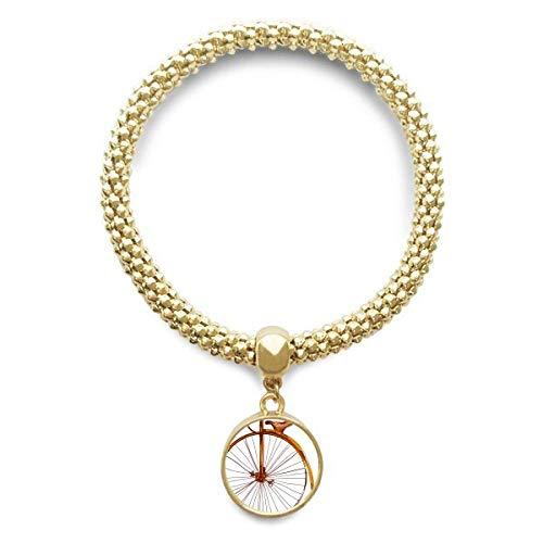 DIYthinker Damen Altertümlich Fahrrad High Wheeler Britannien goldene Armband Laufende Anhänger Schmuck-Kette
