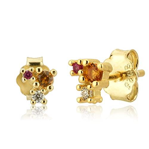 100% 925 Plata Oro 18mm Pendiente de perno prisionero de escalador de hilo fino Pin de oreja de lujo Cristal Zircon Piercingjewelry-Pendiente de oro