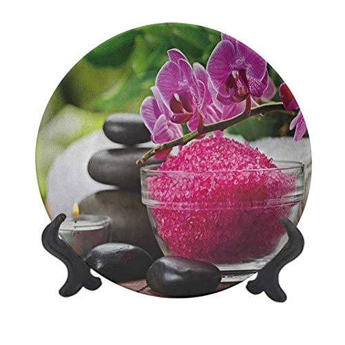 Spa - Plato decorativo de cerámica de 25,4 cm, diseño de tripletas de piedra Zen negra con orquídeas originadas y sal fucsia