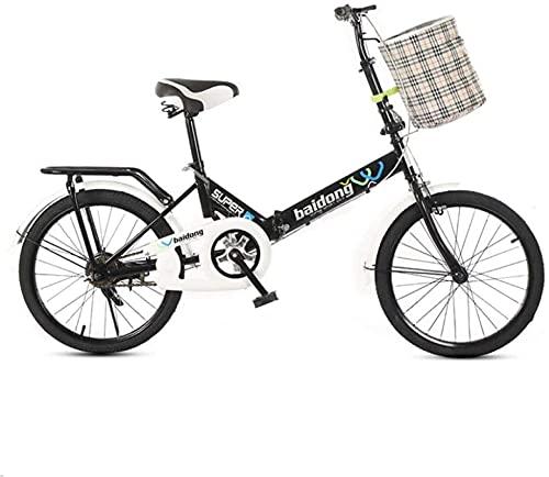 Bicicletas de montaña, bicicleta plegable de 20 pulgadas para estudiantes, bicicleta plegable sin velocidad, bicicleta que absorbe los golpes, cuadro de aleación con frenos de disco (Color: Negro, T