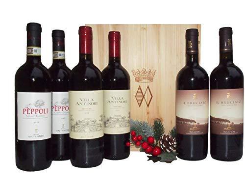 Regalo Cassetta Vini Toscani della Pregiata Cantina Marchesi Antinori - Vini Toscani di Qualità in Cassetta Legno per Intenditori - cod 147