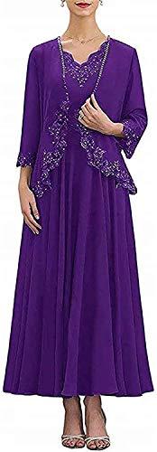 HUINI Lang Elegant Abendkleid für Hochzeit Damen Mutterkleid mit Ärmel Chiffonkleid Zweiteilig Ballkleid Brautmutterkleid Violett 46