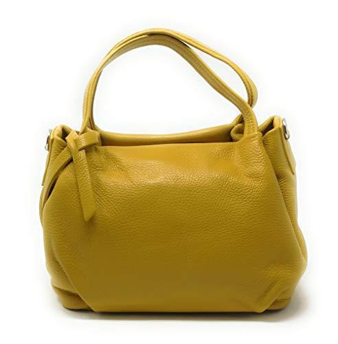 OH MY BAG Sac à main Cuir porté main bandoulière et de travers Femmes en véritable cuir fabriqué en Italie - modèle BUBBLE Jaune moutarde- SOLDES