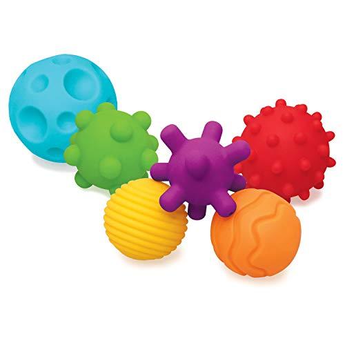 Infantino Balles Souples Sensorielles - 6 balles souples aux formes et tailles différentes pour le développement sensoriel - Pour les enfants à partir de 6 mois