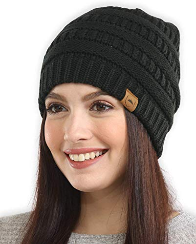 Tough Headwear Womens Beanie Winter Hat - Warm & Chunky Merino Wool Knit Hats - Soft Stretch, Thick & Cute Knitted Stocking Caps for Cold Weather - Stylish & Trendy Snow & Ski Beanies for Ladies