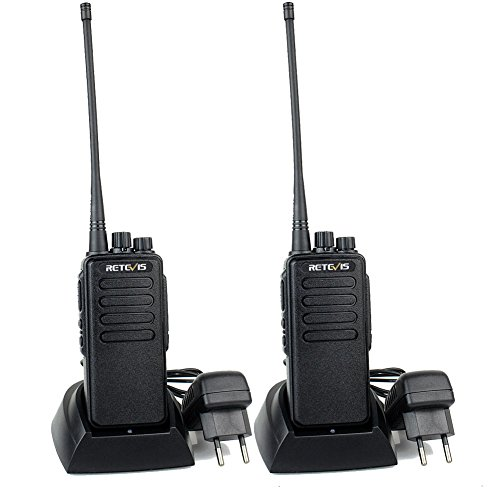 Retevis RT1 Funkgerät Lange Reichweite Walkie Talkie 16 Kanäle Funkgeräte Set 3000mAh CTCSS/DCS VOX 1750Hz Scan Monitor Alarm mit 2 STK. Antenne Walkie Talkies mit Headset (1 Paar, Schwarz)