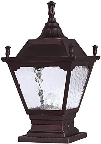 Rekaf Estilo europeo antiguo rojo-marrón postal lámpara de pedestal de aluminio y cristal pantalla retro patio lámpara de pared a prueba de lluvia columna lámpara de cabeza cuadrado al aire libre cuad